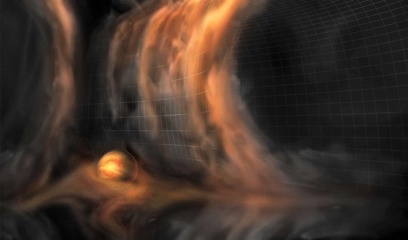 Amerikaanse onderzoekers hebben in een stofschijf rond een ster sporen ontdekt die wijzen op de vorming van drie planeten.  Daardoor zijn eerdere waarnemingen rond dezelfde ster bevestigd  (S. Dagnello)