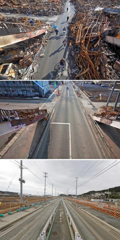 Een weg in Kesennuma, zes dagen na de tsunami (boven), bijna een jaar na de ramp (midden) en afgelopen maandag (onder).   (kyodo en ap / David Guttenfelder, Eugene Hoshiko)