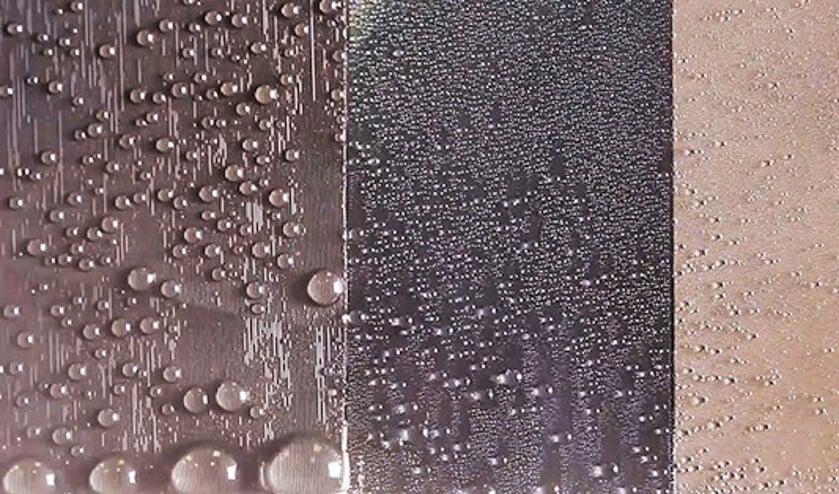 Links: het 'glad-ruwe oppervlak' uit het onderzoek, midden: een glad-poreus oppervlak, rechts: een waterafstotend oppervlak.  (penn state / Xianming Dai ea)