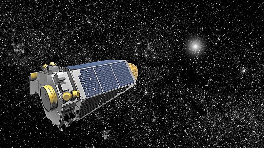 Artistieke weergave van de Kepler-telescoop op ruimtereis.  De planetenjager is al ruim zeven jaar onderweg.  (NASA)