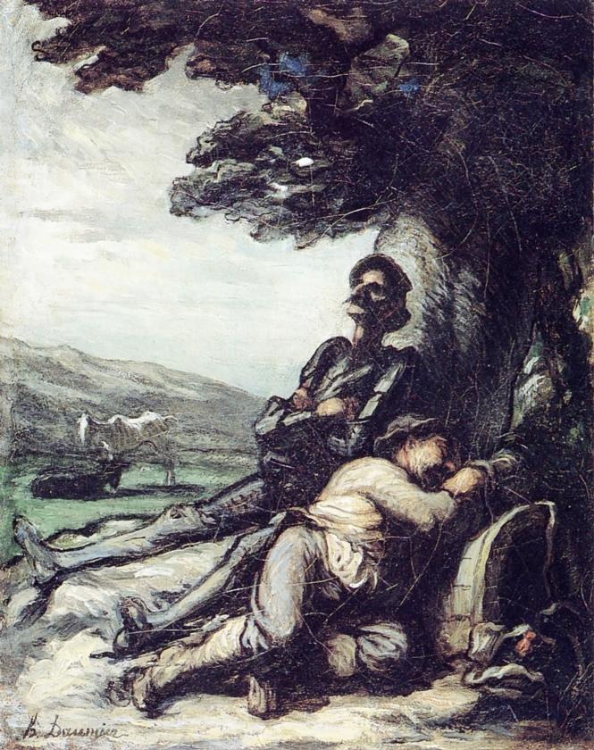 Honoré Daumier, Don Quichot en Sancho Panza rusten onder een boom, ca. 1855.