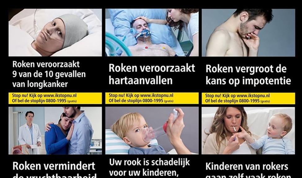 Een paar voorbeelden van narrative fear appeals op pakjes sigaretten.  Gezondheidswaarschuwingen met mini-verhalen werken minder goed bij verslavingsgedrag.  (nd en Luuk Steemers)
