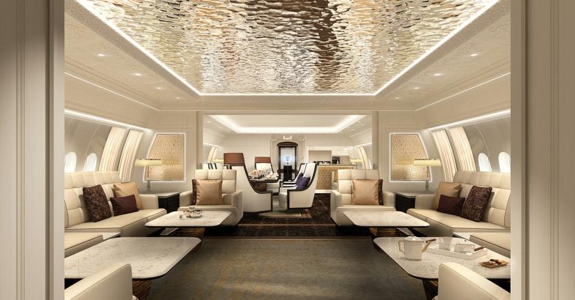 Een interieur van een villa met vleugels.  (jet aviation)