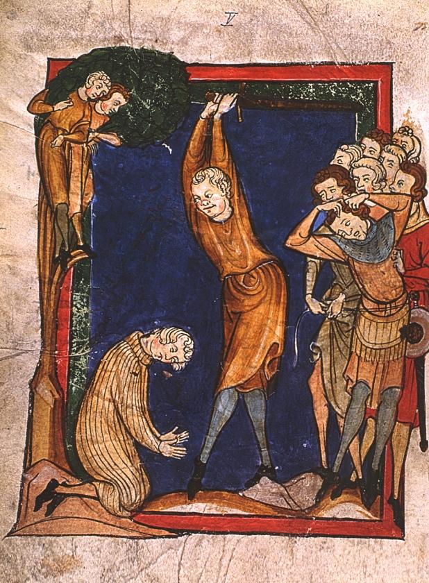 Clichébeeld van straf en recht in de Middeleeuwen. In feite hád Haarlem vaak niet eens een beul.  (nd)