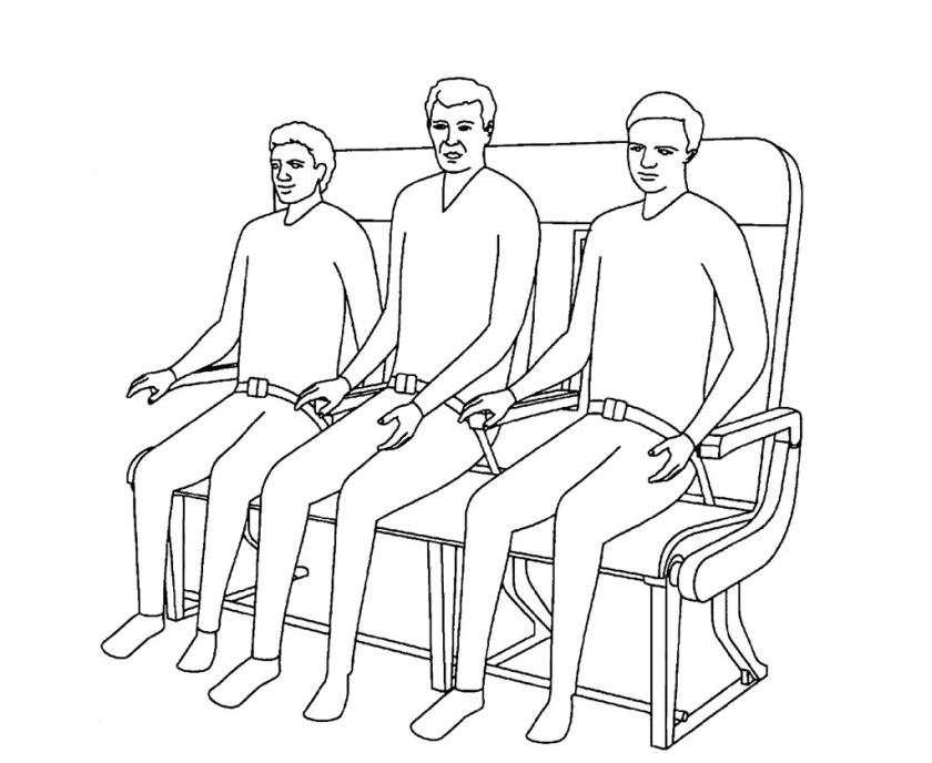 Als je twee stoelen vervangt door een bankje, kunnen er drie in plaats van twee passagiers zitten, redeneert Airbus.  (vk)