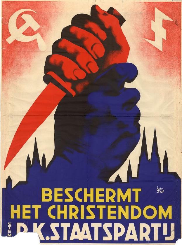 """'""""Wat een heftige poster!"""", kreeg ik als reactie toen ik dit affiche van de rooms-katholieke RKSP liet zien.  Dat is ook zo"""