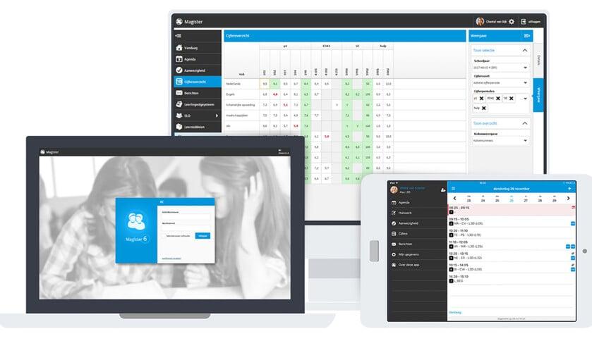 De app Magister geeft niet alleen leerlingen, ook hun ouders inzicht in hun cijfers, roosters en aanwezigheid.  (magister.nl)