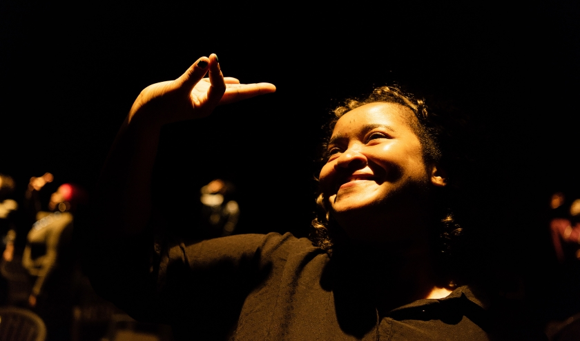 Repetitie van Let there be light in theater Frascati in Amsterdam.  (Katja Poelwijk)