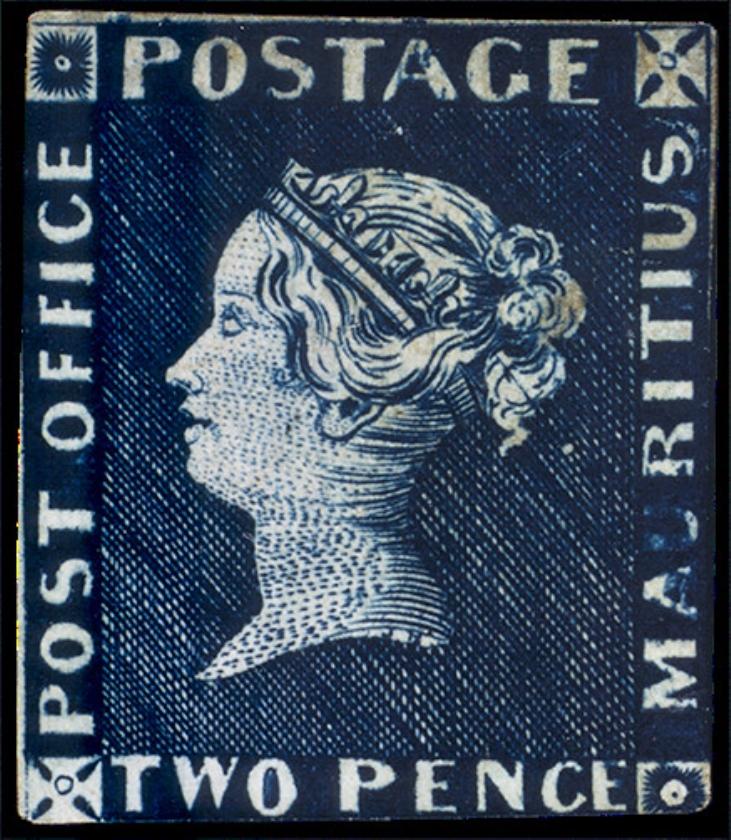 Van de Blauwe Mauritius (1847) zijn er wereldwijd vier ongebruikte exemplaren. Een werd geveild voor 1,2 miljoen euro. De vrouw van de gouverneur in Mauritius liet de zegel maken voor de invitatie voor een gekostumeerd bal.  (nd)