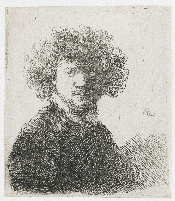 Zelfportret met krullend haar en witte kraag, ets, Rembrandt Harmensz. van Rijn.   (rijksmuseum)