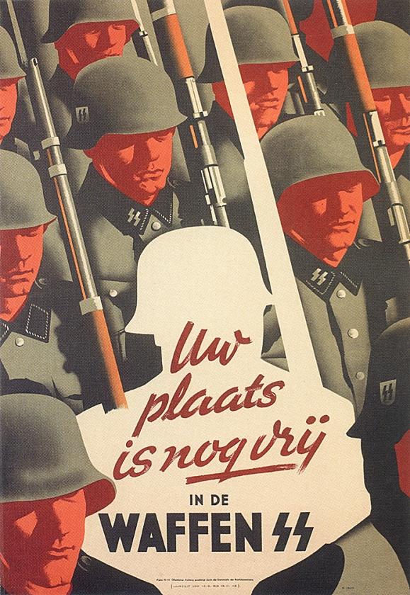 Wervingsposter voor de Waffen-SS.  Zo'n 22.000 Nederlanders meldden zich aan.