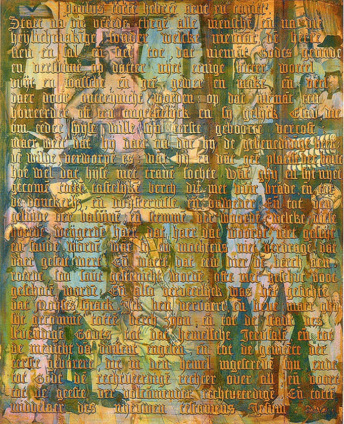 De Gregoriusmis, met infraroodreflectografie zichtbaar gemaakt onder de tekst uit Hebreeën.  (uit besproken boek)