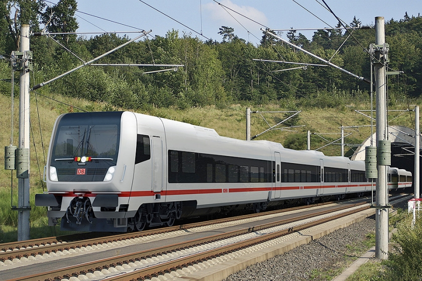 Een werktekening van de nieuwe trein tussen Berlijn en Amsterdam.  (talgo / deutsche bahn)