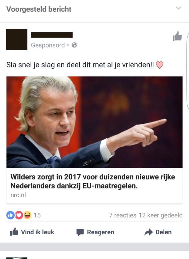 Nepnieuws dat via Facebook wordt verspreid uit naam van nieuwssites, in dit geval NRC Handelsblad.  (facebook)