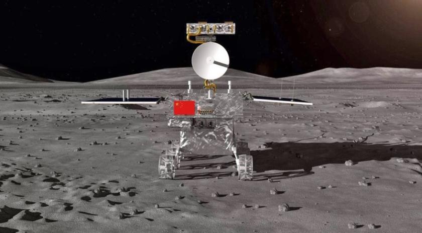 Een impressie van de Chang'E-4 maanlander.  (china aerospace science and technology coorporation (casc))
