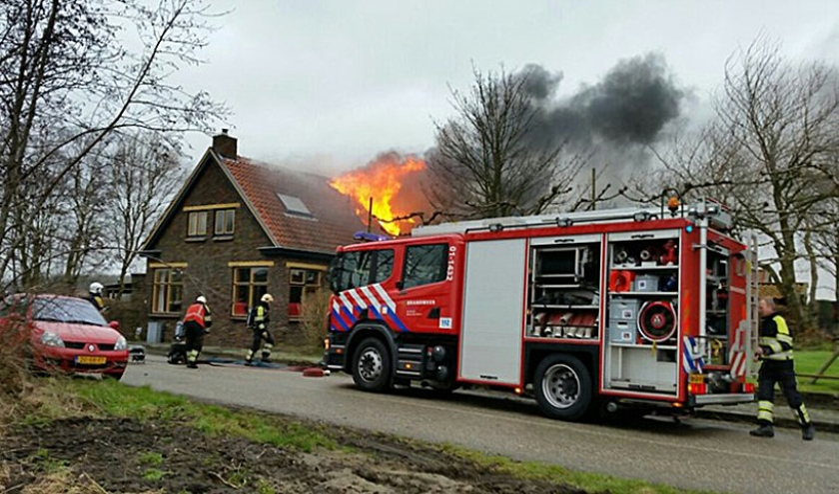 De uitslaande brand in het woonhuis in Kloosterburen.  (112 Groningen)
