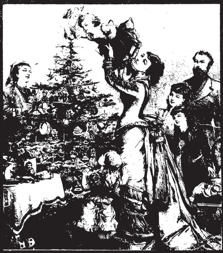 Illustratie bij het artikel uit 1989 over kerstbomen bij de Lutheranen.   (nd)