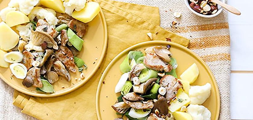 Geroerbakte varkenshaas met prei en oesterzwammen  (voedingscentrum)