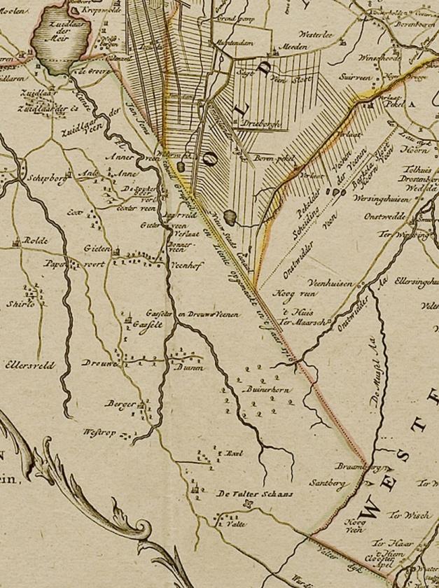 De Semslinie ingetekend op een kaart uit 1792.  (400 jaar Semslinie)