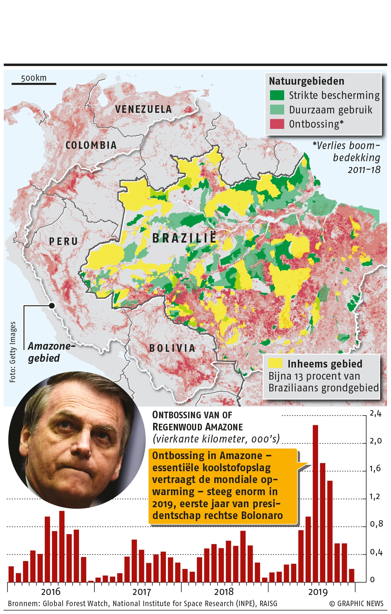 February 10, 2020, Brazil's President Jair Bolsonaro is proposing a controversial bill to allow commercial mining on protected indigenous lands, a move that environmentalists say can only speed up deforestation. Graphic shows map of indigenous lands and protected areas in the Amazon, as well as deforestation between 2016 and 2019.
