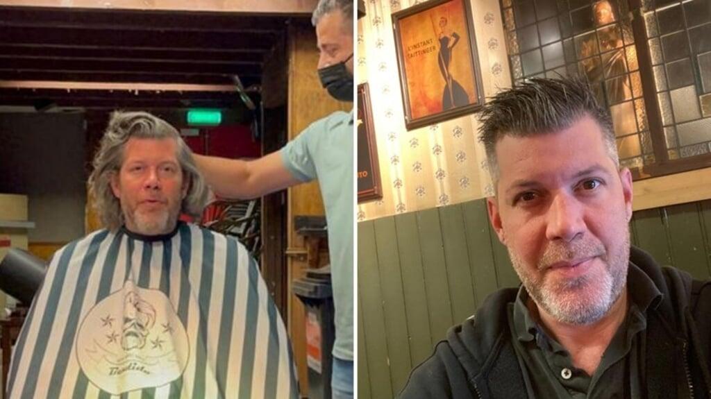 Café-eigenaar Thomas van Raay uit Middelburg liet zijn haar groeien vanaf de tweede lockdown, maar dinsdag liet hij zijn lokken knippen.  (beeld omroep zeeland)