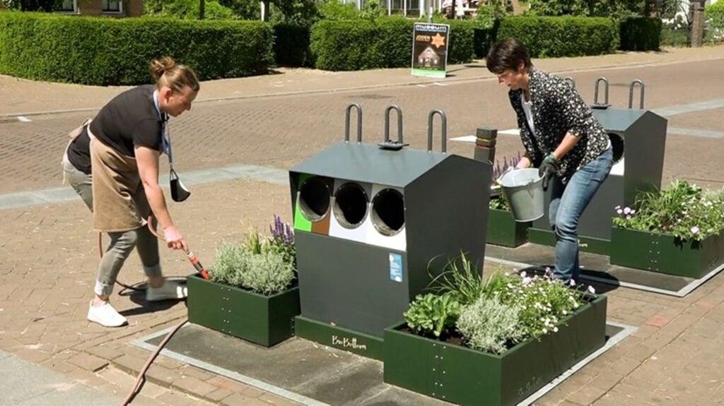 Jolanda Spies uit Dreumel nam het initiatief voor 'containertuintjes', die zwerfafval rond de containers moeten tegengaan.  (beeld omroep gelderland)