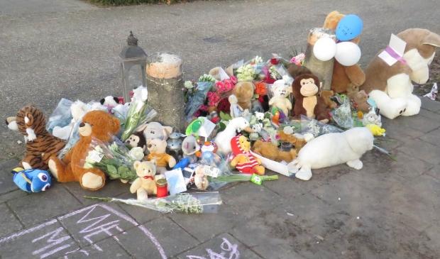 Een grote bloemenzee met knuffels, kaarten en kaarsen op de plek waar het jongetje woensdag overleed.