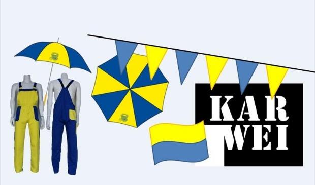Geel-blauwe Krullendonkse merchandise exclusief bij Karwei Foto:  © mooibernheze