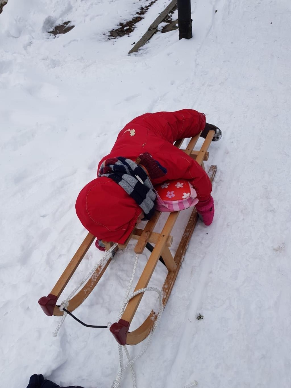 <p>Het kleinkind van net drie jaar is in slaap gevallen op de slee. Sneeuw werkt duidelijk ontspannend. </p> <p>Foto:</p> © mooibernheze
