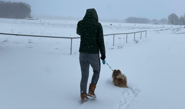 Arianne is de hond van Mien aan het uitlaten.
