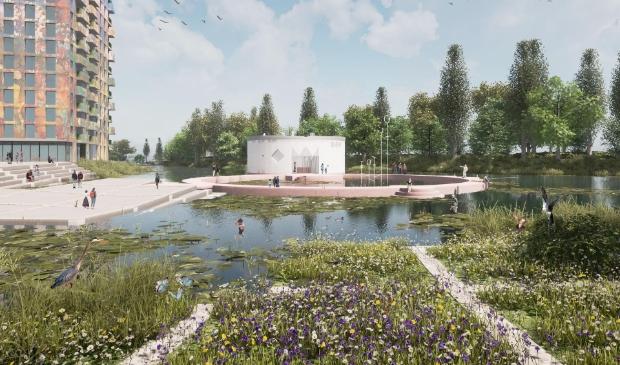 <p>Impressie van het kunstpaviljoen, ontworpen door Studio Ossidiana.</p>