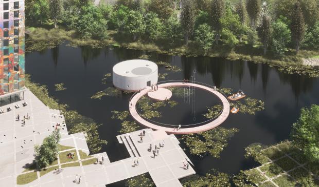 Impressie van het drijvende kunstpaviljoen in het Weerwater.
