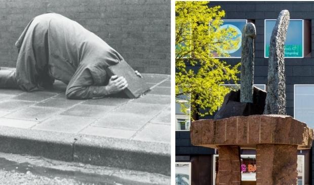 <p>Links Gudmundson met geconcentreerde aandacht voor wat er onder een opgelichte stoeptegel te zien is (&#39;event&#39; uit 1975) en rechts zijn kunstwerk op de Grote Markt.</p>