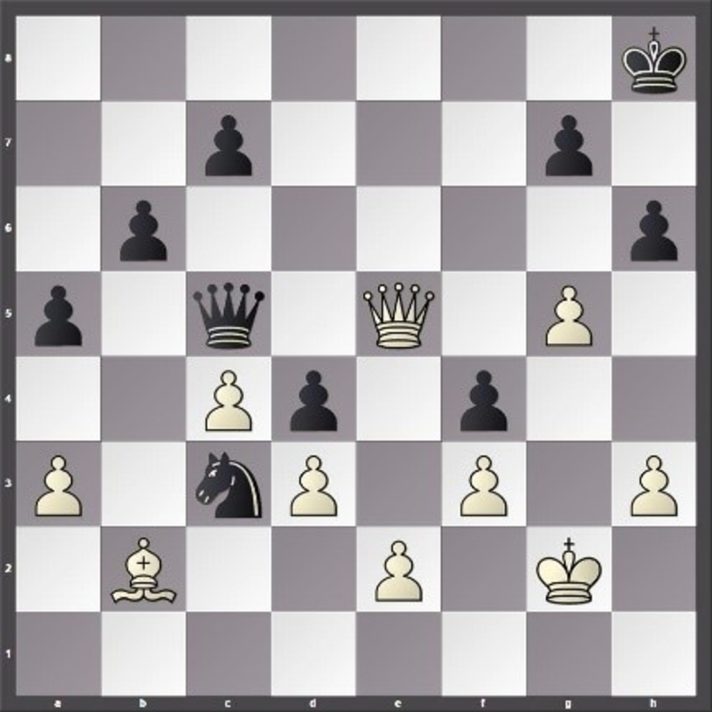 In het probleem links wint wit via 1. De8+ zwart moet Kh7 spelen en wit dan 2. g6 schaakmat.  Foto:  © Minerve Pers