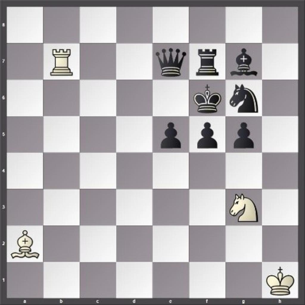 Rechts wint wit via Ph5 en ook dan is het schaakmat. Foto:  © Minerve Pers