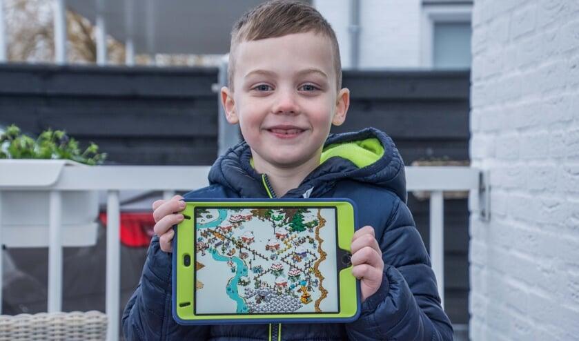 Naud heeft een prachtig smurfendorp gebouwd op zijn iPad.