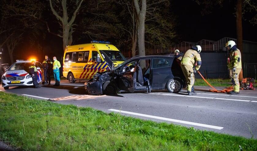 Auto tegen boom op de Halsterseweg tussen Lepelstraat en Steenbergen.