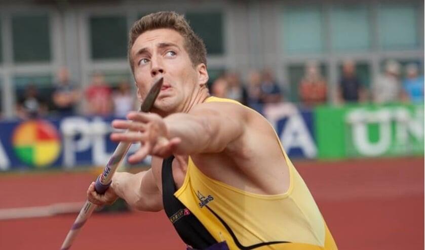 <p>Bj&oslash;rn Blommerde in zijn gouden tijd als speerwerper met de Olympische Spelen als doel. &nbsp;</p>