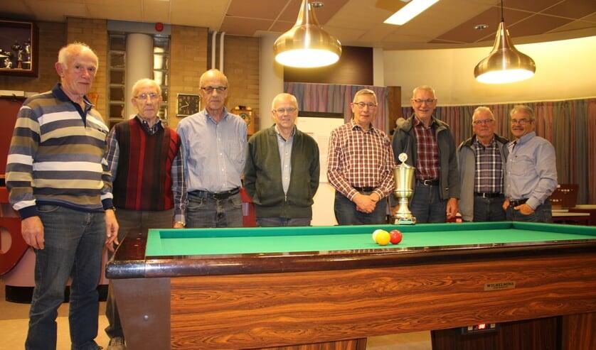 winnaars Peelse Kampioenschappen v.l.n.r., 4e t/m 1e Plaats A-poule, 1e t/m 4e plaats B-poule.