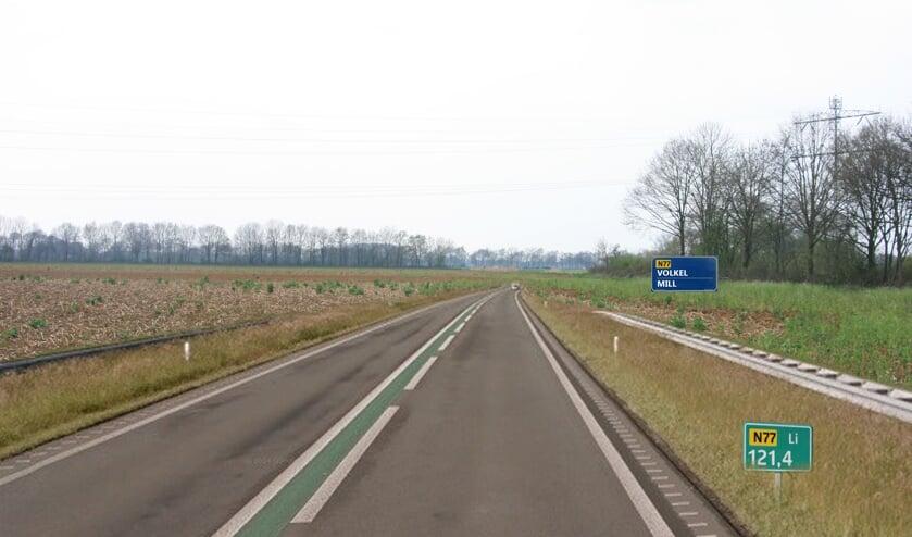 Illustratie van de N77, gezien vanaf knooppunt Rijkevoort in de richting Uden/Mill.