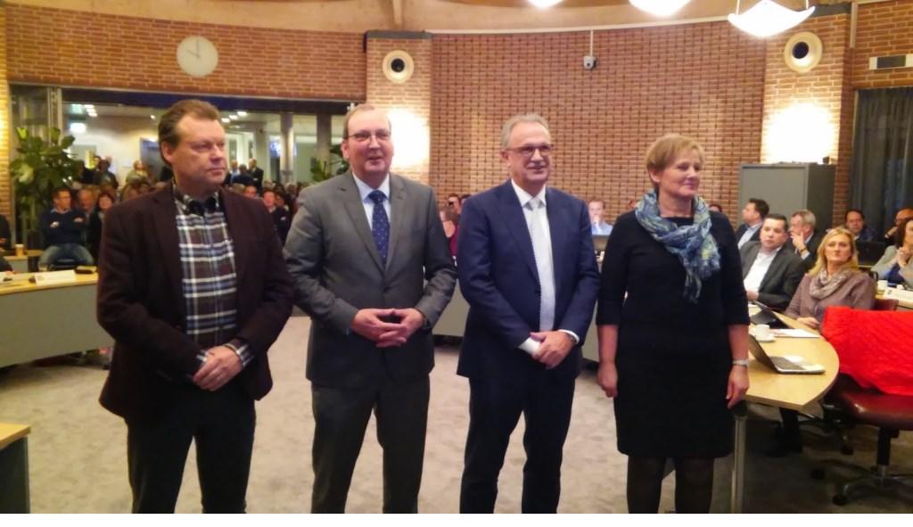Witlox, Van den Boogaard,  Gooijaarts en Van der Pas leggen de eed af.  © Kliknieuws Veghel