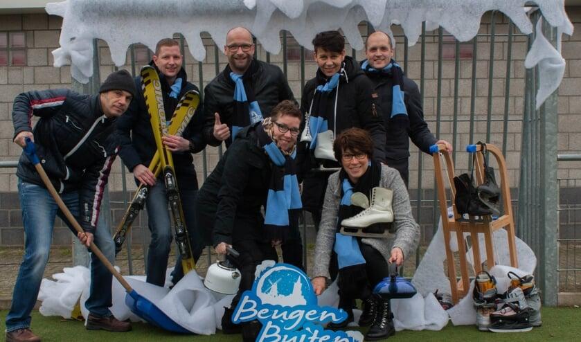 Organisatie Beugen Buiten Winterfestival: (vlnr): Edwin Vervoort, Roel Olieslagers, Paul Hendriks, Vera Brakels, Sylvia Bardoel, Christel Thijssen en Nicky Ooms.
