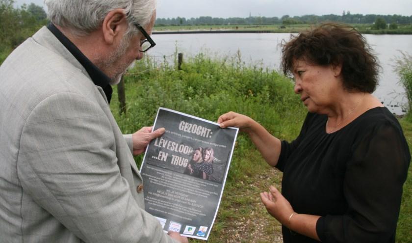 """Fred Hoskens en Bia Sarton van 'Lèvesloop ...en trug'. """"Maar weinig mensen kennen het verhaal van de evacuatietochten in 1944."""""""