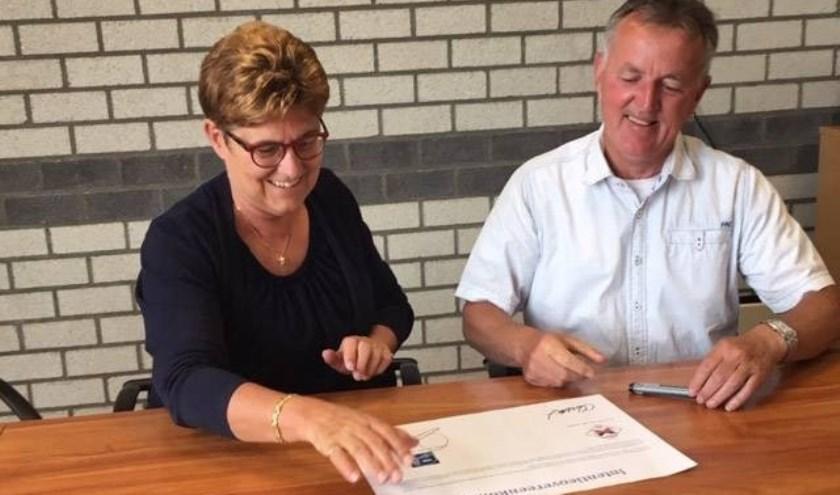 Carla van der Loos (voorzitter VIP) en Ad van der Velden (voorzitter Herpinia).