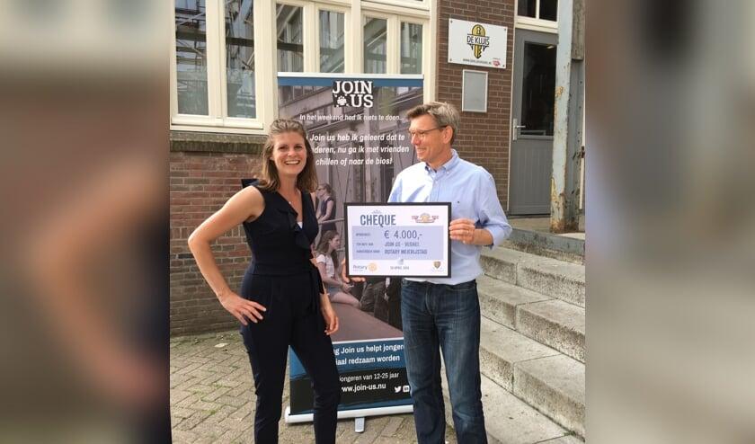 Jolanda van Gerwe van de stichting Join us en Eric Rath van Rotaryclub Meierijstad.
