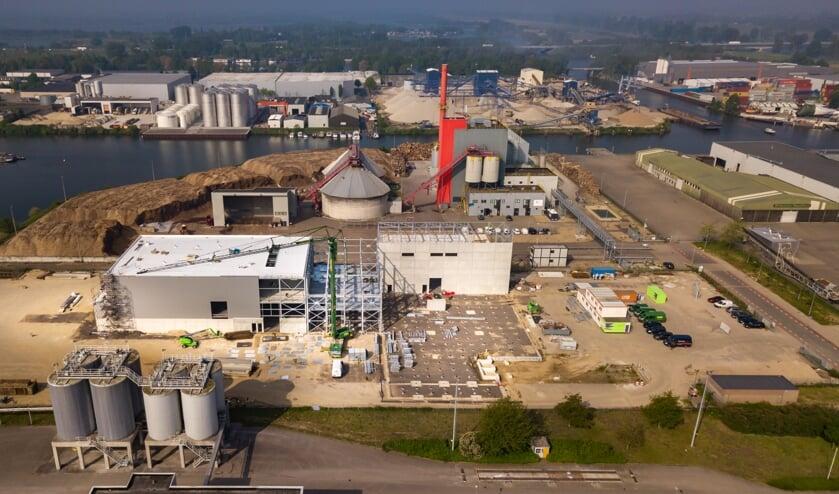 Luchtfoto bouw fabriek Duynie Ingredients in Katwijk.