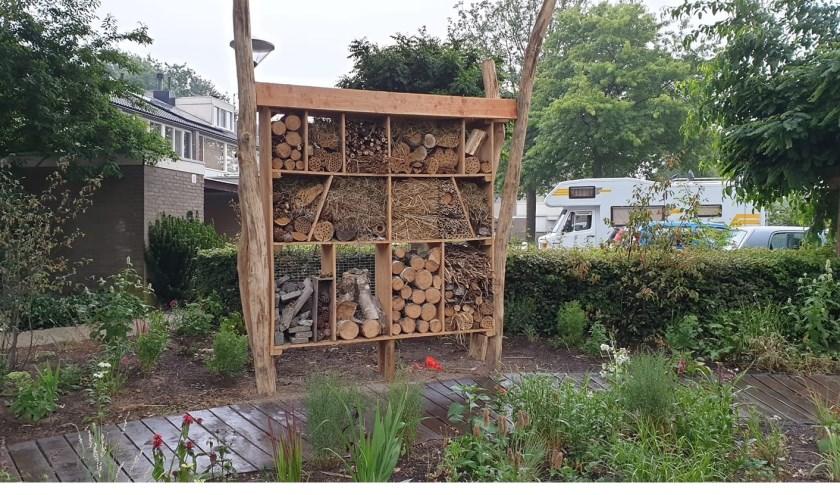 Bewoners en begeleiders van het Elzeneindhuis en wijkraad Ruwaard maakten het Slowpad met insectenhotel.