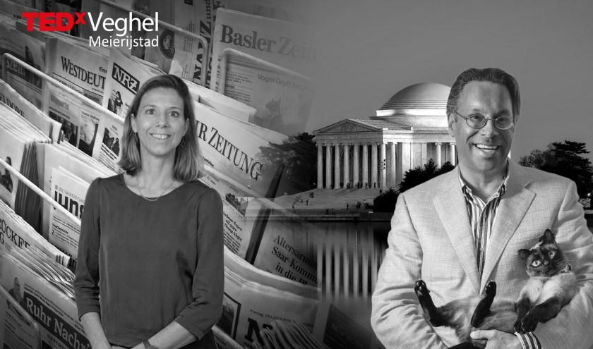 TEDx-sprekers Marc Teerlink en Daniëlle Arets zullen hun licht laten schijnen over kunstmatige Intelligentie en fake news.