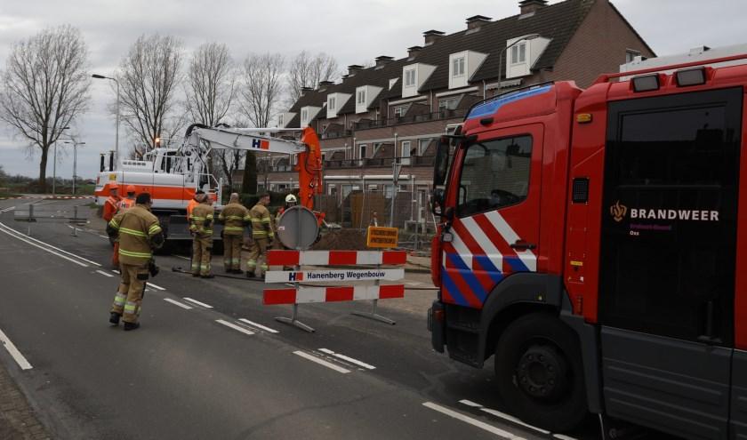 Gaslek door werkzaamheden in Peellaan. (Foto: Gabor Heeres / Foto Mallo)