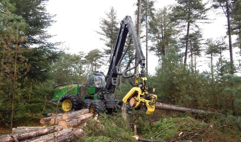 Een Harvester aan het werk in de bossen.
